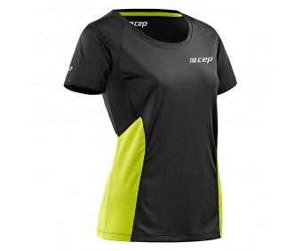 CEP - Tricou pentru alergare black/lime green, femei