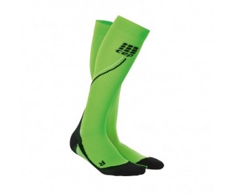 CEP - Șosete de compresie pentru alergare (de noapte) 2.0 flash green/black