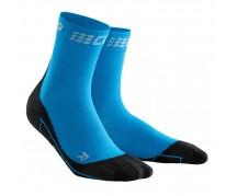 CEP - Șosete medii de alergare iarna electric blue/black
